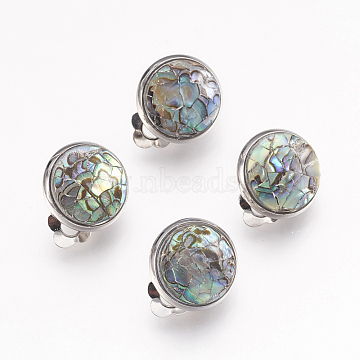 Natural Paua Shell  Clip-on Earrings, with Platinum Tone Brass Findings, Half Round, Colorful, 16x13.5x11mm(EJEW-F162-E02)