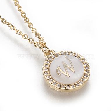 Brass Initial Pendant Necklaces(NJEW-I230-24G-W)-3