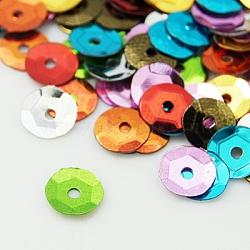 Пластиковые свободные полуотдельных обхватил блестки, цветные блестки, центральное отверстие, разноцветные, 6~7 мм, отверстие : 1 мм(PVC-PVC002-M2)