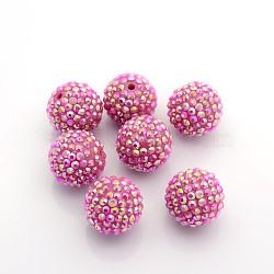 Коренастый смолы горный хрусталь жевательная резинка мяч бусины, AB цвет, круглые, ярко-розовые, 22x20 мм, отверстие : 2.5 мм(X-RESI-S256-22mm-SAB6)