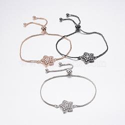 """Bracelets réglables en laiton à micro-pavé de zircons cubiques, Bracelets coulissants, avec des chaînes de boîte en laiton, étoiles, couleur mixte, 10-1/4"""" (260 mm)(BJEW-F302-07)"""