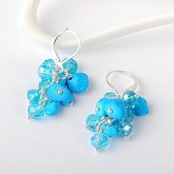 Copeaux de pierres précieuses boucles d'oreilles, avec perles de verre et boucles d'oreilles créoles en laiton, turquoise synthétique, 39 mm; broches: 0.7 mm(EJEW-JE01301-04)