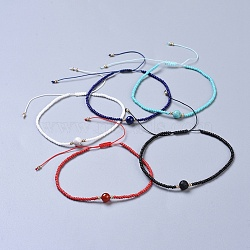 Nylon Thread Braided Anklets, with Natural/Synthetic Gemstone Beads and Glass Seed Beads, 2-1/4 inches~3-3/8 inches(5.7~8.5cm)(AJEW-AN00266-M)