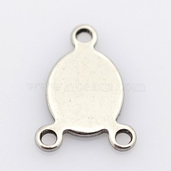 Ovales 304 en acier inoxydable connecteurs chandeliers, couleur inoxydable, 11x8x1mm, Trou: 1mm(X-STAS-P073-26)