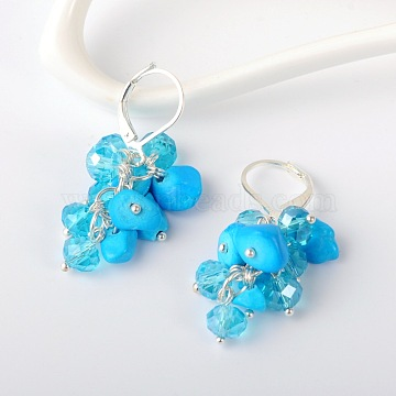 Gemstone Chips Earrings, with Glass Beads and Brass Leverback Hoop Earrings, Synthetic Turquoise, 39mm; Pin: 0.7mm(EJEW-JE01301-04)