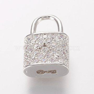 Brass Micro Pave Cubic Zirconia Pendants, Lock, Platinum, 18.5x11.5x6mm, Hole: 5.5x6.5mm(X-ZIRC-K060-08P)