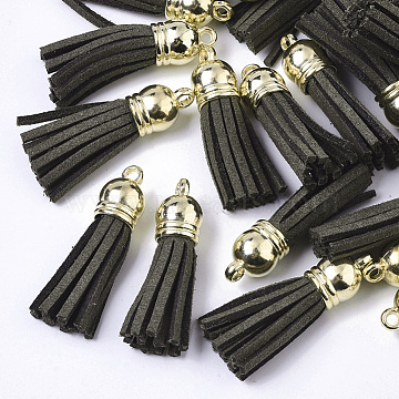 Faux Suede Tassel Pendant Decorations, with CCB Plastic Cord Ends, Olive, 35~37x10mm, Hole: 2.5~3mm(X-FIND-T002-B20)
