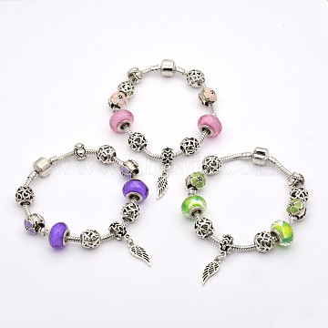 Wing Alloy European Style Beads Bracelets, Resin Beads, with Rack Plating Brass Chain and Findings, 190x3mm, Mixed Color, 190x3mm(BJEW-P049-20)