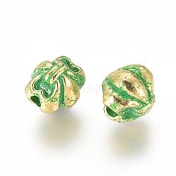 Alloy Beads, Bowknot, Golden & Green Patina, 8x7x7.5mm, Hole: 1.6mm(PALLOY-E566-08GG)