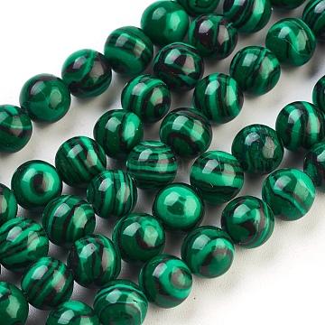 8mm Green Round Malachite Beads