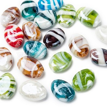 Handmade Lampwork Beads, Pearlized, Oval, Mixed Color, 18x14x8mm, Hole: 2mm(X-LAMP-S050-M)