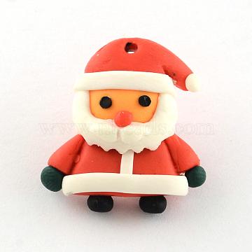 Handmade Polymer Clay Pendants, Christmas, Santa Claus, Red, 24x22x8mm, Hole: 1mm(X-CLAY-R060-32)