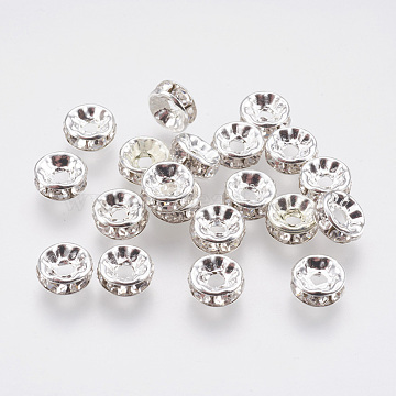 Brass Rhinestone Spacer Beads, Grade A, Rondelle, Silver Color Plated, Size: about 8mm in diameter, 3.5mm thick, hole: 2mm(RB-A003-8MM-S)