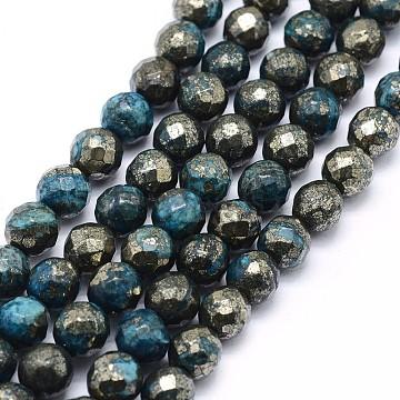 8mm DeepSkyBlue Round Pyrite Beads