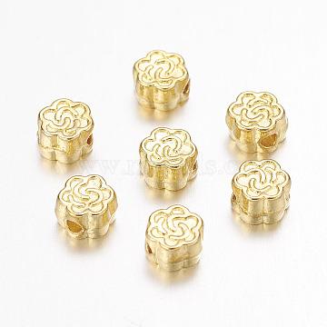 Tibetan Style Alloy Beads, Flower, Golden, Lead Free & Cadmium Free, 4.5x3mm, Hole: 1mm(X-K08PE011)
