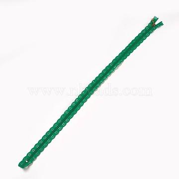 Garment Accessories, Nylon Lace Zipper, Zip-fastener Components, DarkGreen, 34x2.4cm(FIND-WH0013-A-22)