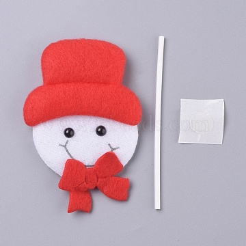 Snowman Shape Christmas Cupcake Cake Topper Decoration, for Party Christmas Decoration Supplies, Red, 97x66x10mm(DIY-I032-01)