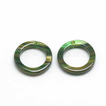 Cellulose Acetate(Resin) Pendants, Ring, Green, 20x20x2.5mm, Hole: 1.5mm(X-KY-S121C-023)