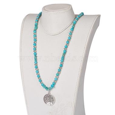 Synthetic Turquoise Pendant Necklaces(NJEW-JN02155)-4