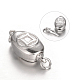 Oval with Coin Platinum Plated Sterling Silver Box Clasps(STER-N014-04)-1