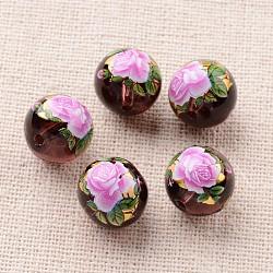 Image de fleur en verre imprimé perles rondes, violet, 12mm, Trou: 1mm(GLAA-J088-12mm-A08)