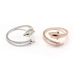 925 элементы кольца из стерлингового серебра, за половину пробурено бисера, дельфин, cmешанный цвет, Размер 7, 17 mm; лоток: 1.5 mm, контактный: 0.7~1 mm(STER-P041-11)