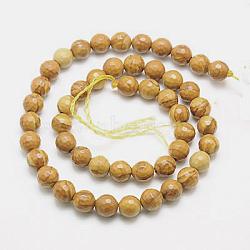 """Chapelets de perles en bois pétrifié naturel, teint, facette, rond, 10mm, trou: 1mm; environ 38 pcs/chapelet, 15.75""""(G-G542-10mm-06)"""