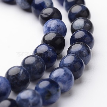Round Natural Sodalite Bead Strands, 6mm, hole: 1mm; about 63~65pcs/strand, 15 inches(G-J346-24-6mm)