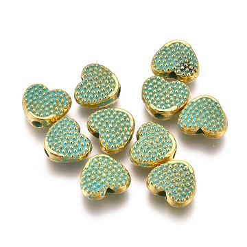 Alloy Beads, Heart, Lead Free & Cadmium Free, Golden & Green Patina, 6.5x7.5x3mm, Hole: 1.5mm(PALLOY-L222-056GGP-RS)