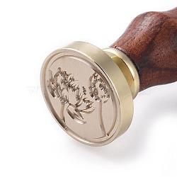 scrapbook bricolage, tampon de cire en laiton et poignées en bois, fleur, or, 90 mm; timbres: 25x14.5 mm(AJEW-WH0100-136)