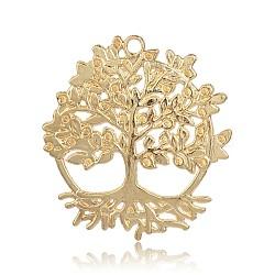 Gros pendentifs en alliage de style tibétain, arbre de la vie, or, 50x46x2mm, Trou: 3mm(TIBEP-M001-34G)