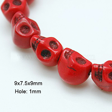 9mm Red Skull Howlite Beads
