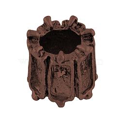 Colonne en alliage de style tibétain supports perles européennes cabochon, Perles avec un grand trou   , sans nickel et sans plomb, cuivre rouge, plateau: 5x2 mm; 8x8 mm, trou: 5 mm; environ 635 pcs / 1000 g(TIBEP-7688-R-NR)