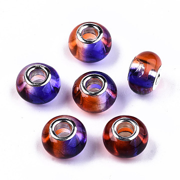 Transparent Two Tone Resin European Beads, Large Hole Beads, with Silver Tone Brass Double Cores, Rondelle, Mauve, 14x9.5mm, Hole: 5mm(RPDL-T003-002E)