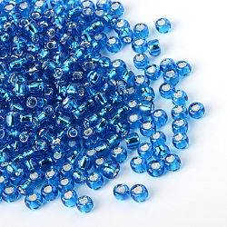 MGB&reg Matsuno Glass Beads, Japanese Seed Beads, 12/0 Silver Lined Glass Round Hole Rocailles Seed Beads, DeepSkyBlue, 2x1mm, Hole: 0.5mm; about 44000pcs/bag, 450g/bag(SEED-R017-45RR)