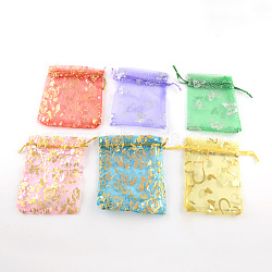 Printed Organza Bags, Gift Bags, Rectangle, Mixed Color, 9x7cm