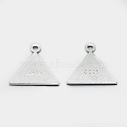 925 Sterling Silver Charms, Triangle, Carved with S925, Silver, 11x10x0.5mm, Hole: 1mm(STER-I014-15S)