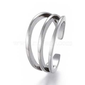Adjustable Triple Band Brass Toe Rings, Open Cuff Rings, Open Rings, Platinum, US Size 3(14mm)(RJEW-EE0002-09P)