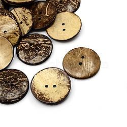 Boutons de noix de coco, 2-trou, plat rond, coconutbrown, 51x6mm, Trou: 4mm(X-COCO-I002-104)