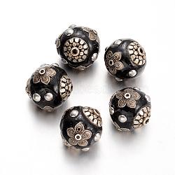 Perles rondes en Indonésie manuelles, noir, 22x20mm, Trou: 2mm(IPDL-O003-02B)