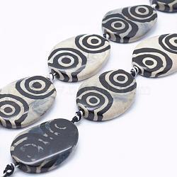 """Chapelets de perles en agate naturelle de style tibétain dZi, teints et chauffée, ovale, gainsboro, 38~40x28~30x6~8mm, Trou: 3mm, Environ 8 pcs/chapelet, 14.5""""(TDZI-K001-05C)"""