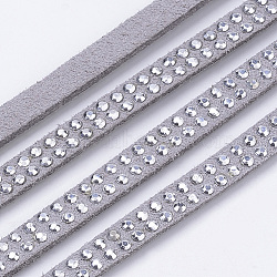 Faux Suede Cord, with Silver Rhinestones, for Punk Rock Jewelry Making, Gray, 5x2mm; about 1m/strand(X-LW-Q018-5mm-S1126)