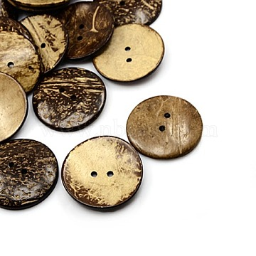51mm CoconutBrown Flat Round Coconut 2-Hole Button