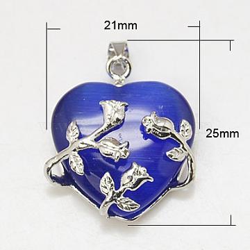 Platinum Blue Heart Brass+Cat Eye Pendants