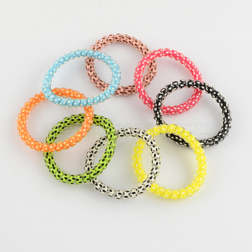 Telephone Cord Elastic Hair Ties, Ponytail Holder, Plastic, Mixed Color, 40~45mm(OHAR-R113-06)