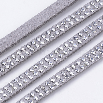 Faux Suede Cord, with Silver Rhinestones, for Punk Rock Jewelry Making, Gray, 5x2mm, about 1.09 yards(1m)/strand(X-LW-Q018-5mm-S1126)
