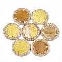 50mm Verge D'or Rond Plat Rotin Perles(X-WOVE-T006-098B)