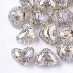 Perles en acrylique transparentes craquelées, demi-percés perles, cœur, grises , 14.5x18x13mm, demi-trou: 3.5 mm(TACR-S148-04G)