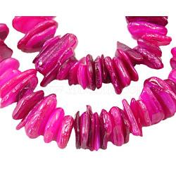 """Chapelets de perles de coquillage, puces, teint, hotpink, environ 6~15 mm, épaisseur de 1~5mm, Trou: 1mm, Environ 190 pcs/chapelet, 15""""(X-PBB226Y-3)"""