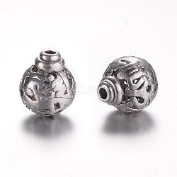 Perles en alliage de style tibétain avec 3 trou, perles t-percées, rond, argent antique, 12x10mm, Trou: 1.5mm(PALLOY-YC45780-AS)